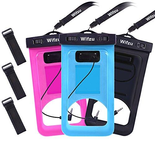 Wifzu IPX8 Wasserdichte hülle handyhülle tasche beutel, Staubdichte Schützhülle, Ideal für den Strand, Wassersport, fürs Radfahren, Angeln, usw, (3 Stück) für iPhone 6 6s Plus Huawei P8 P9 LUMIA 950 Samsung Galaxy S8 S6 S7 J5 A3 BQ Aquaris Moto, bis zu 6 Zoll, Sie können Münzen und Pässe setzen, Sie können Kopfhörer anschließen, um Musik zu hören(Schwarz & Rose Red & Blau)