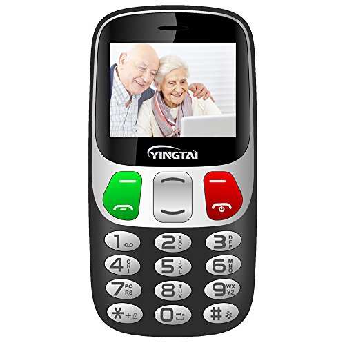 YINGTAI Telefono Cellulare per Anziani Tasti Grandi Facile da Usare con Pulsante SOS (Nero)