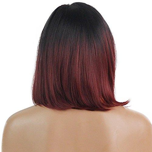 Frauen gerade schwarz rot Farbverlauf Bob Frisur Perücke, kurze Haare lockigen Schwanz Perücke charmante sexy weinrote Dame Perücke seidig glatt und glänzend Perücke Party Cosplay täglichen Gebrauch
