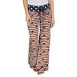 Frauen Mode American Flag Print Kordelzug Breite Beinhosen Leggings Sport Hosen Plus Größe