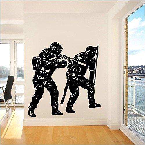 jiuyaomai Zwei Snnipers Muster Home Wohnzimmer Art PVC Decor Wandaufkleber Zwei Einzigartige Polizei Soldaten Spezielle Vinyl Wandtattoos 58x56 cm