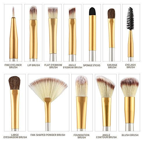 Ammiy� Makeup Brush Set Professional Wood Handle Premium Synthetic Kabuki Foundation Blending Blush Concealer Eye Face Liquid Powder Cream Cosmetics Lip Brush Tool Brushes Kit (12 Pieces White Cream-colored Case Bag)