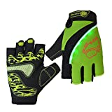 Diuspeed Radfahren Handschuhe, LED Fingerlose Handschuhe Gym Handschuhe Gewichtheben Handschuhe Anti-Rutsch-Handschuhe für Road Racing Bicycle