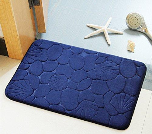 Bad-Teppiche, Morbuy Rutschfeste bequeme Flanell Badematte Badezimmer Teppich super saugfähiger weicher Duschteppich (50*80 cm, Tiefes Blau) (Bad-teppich Blau Gelb)