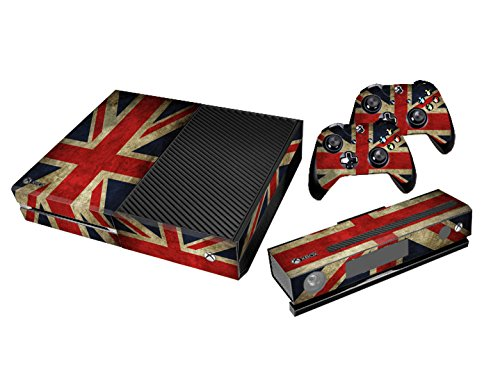 Xbox One Protective Vinly Skin Sticker Consola Decal Pegatinas + 2 Controlador & Kinect Skins Set (Flags UK Retro)