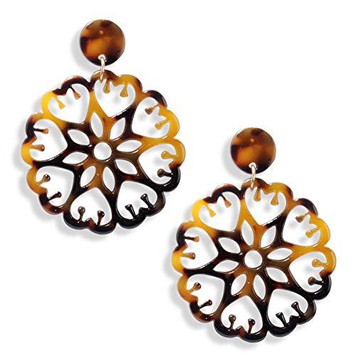 CSDGF Ohrringeneue Temperament Ohrringe Geometrische Hohle Blumen Muster Acetat Platte Runde Übertriebene Ohrringe Für Frauen Geschenk