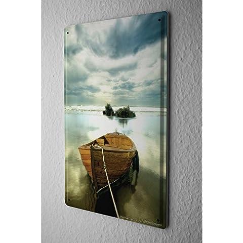 Cartello Targa In Metallo Feng Shui barca roccia Piastra Insegna Metallica 20X30 cm