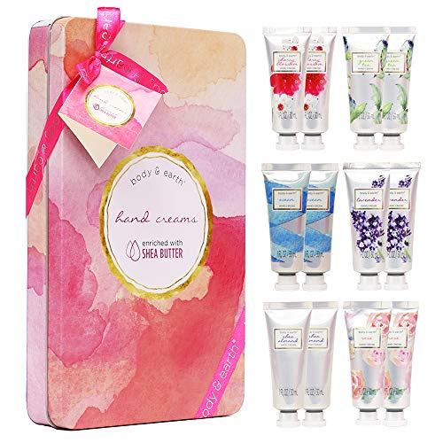 Handcreme-Geschenkset, BODY & EARTH Handlotion für trockene Hände, feuchtigkeitsspendend mit Shea-Butter, 12pc-Reisegröße, beste Geschenkidee für Frauen