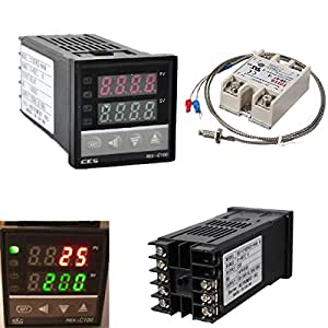 ELEGIANT 100-240V Digital PID Temperature Thermostat+ K Thermocouple Sonde + max.40A SSR