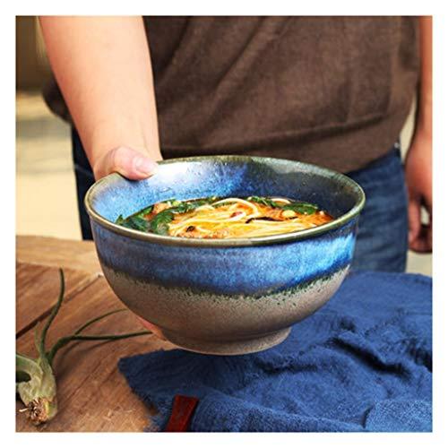 SMC Cuenco Cuenco Ramen Plato de arroz Ensalada Tazón Sopa Grande Tazón de cerámica Estilo japonés Tazón de cerámica Azul Hogar 7 Pulgadas - 17.5X9.5CM