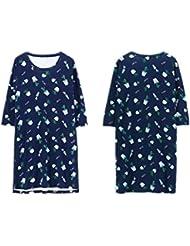 LIUDOU-Faldas de algodón de impresión de algodón de las mujeres Primavera otoño vestido de algodón pijama , m