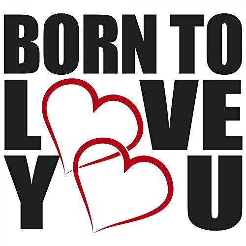 Fashionalarm Damen T-Shirt - Born To Love You | Fun Shirt mit Spruch als Valentinstag & Jahrestag Geschenk Idee für verliebte Paare Weiß