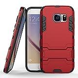 JIEAO Coque Galaxy S7, TPU+PC Double Couche Housse Anti-choc Étui Rigide avec Fonction Stand pour Samsung Galaxy S7 (2016) 5.1 pouces - Rouge