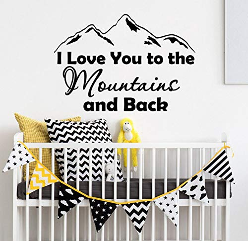 Wall Sticker Nursery Decor Quote I Love You To The Mountains And Back Wall Decal Boys Room Decor Mountain Design Vinyl Wall Sticker 166X114Cm