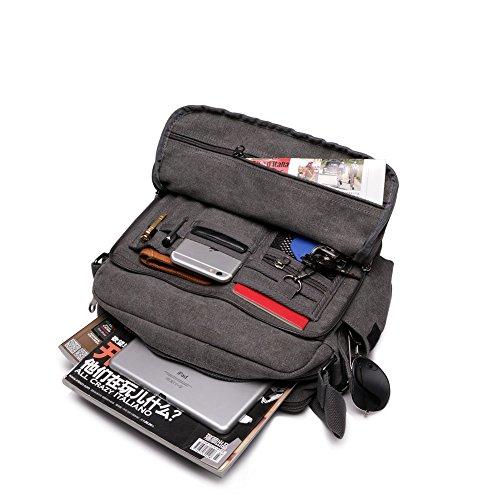 Lona hombre vendimia bolso mensajero de cuerpo cruz hombro bolso escuela paquetes ocio (gris)