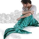 TwinkleR  Mermaid Tail Blanket, Handmade Crochet Knitted Scales Pattern, Super Soft Sleeping Bags,Blanket Seasons Warm for Adults and Kids 76*37inch (mintgreen)