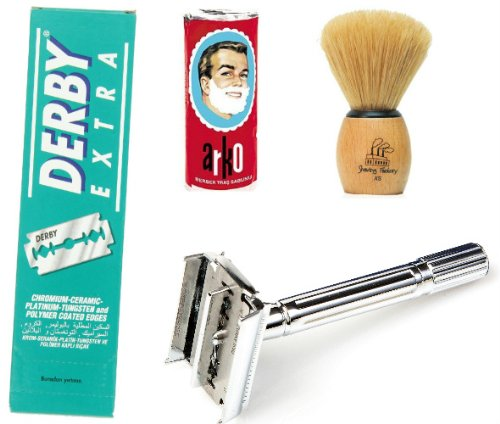 Shaving Factory SF289 Double Edge Safety Razor/ Shaving Factory Hand Made Shaving Brush XS Arko Shaving Soap and Derby Extra Double Edge Razor Blades Gift Set for Men (Shaving Razor Fusion)