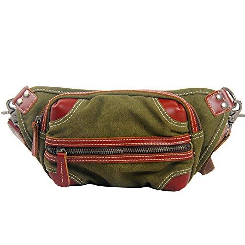 GSPStyle Unisex Canvas Brusttasche Herrentasche Damentasche Freizeit Schultertasche Sporttasche Grün