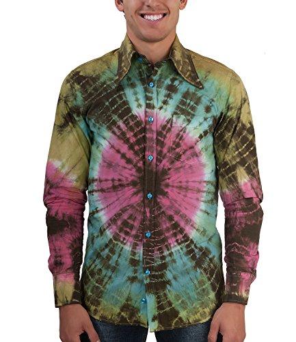 Comycom 70er GOA Hippie Hemd bunt gebatikt XL
