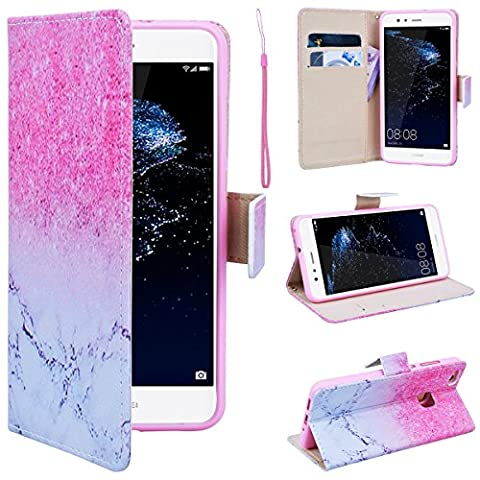 SmartLegend Huawei P10 Lite Wallet Case, P10 Lite Leather Case, Folio Flip Case Cover for Huawei P10 Lite with Strap, White Pink Marble Design Book Style PU Full Body Protection with [Kickstand] Stand Function, Card Slots Holster Purse, Soft TPU Silicone Inner Back Cover SmartPhone Protective Skin Cover for Huawei P10 Lite - Pink Marble