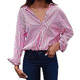 OverDose Damen Casual Gestreift Hemd Frauen Fashon Striped Langarm lose Bluse T-Shirt Tops Oberteile(C-pink,EU-36/CN-S)