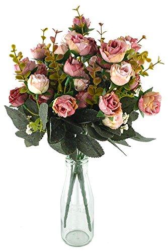 Fiori secchi e confezione da 21 pezzi, in seta, a forma di rose, finto bouquet, matrimonio, decorazione per la casa, confezione da 2 pezzi, color rosa e caffè - 2