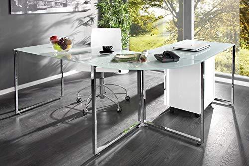 Invicta Interior Eck-Schreibtisch Big Deal Glas weiß Bürotisch Schreibtisch Tisch Glastisch -