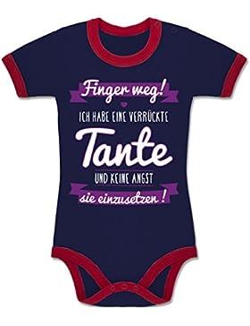Shirtracer Sprüche Baby - Ich Habe eine Verrückte Tante Lila - Zweifarbiger Baby Strampler für Jungen und Mädchen