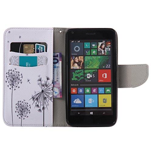 Feeltech Microsoft Lumia N640 Hülle [Berühren Sie Stift] Elegant PU Leder Tasche Magnetverschluss Ultra Schlanke hülle Gemalte Colour Muster Design Mit Back Cover Etui Skin Shell Purse hülle Standfunk Löwenzahn