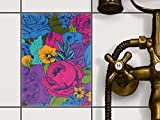 creatisto Fliesen-Dekor, Badezimmerfliesen | Fliesenfolie Sticker Aufkleber Bad Küche ergänzend zu Kühlschrankmagnet Innendekoration | 15x20 cm Muster Ornament Colorful Flowers - 1 Stück