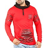 Perfect Creations Full Sleeves Men's t-Shirt Cotton, Leather Rough Look,Hooded,Red(Large)