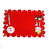 Souarts Set de Table Noël Placemat Napperon pour Decoration Table Christmas Motif Bonhomme de Neige 1PC