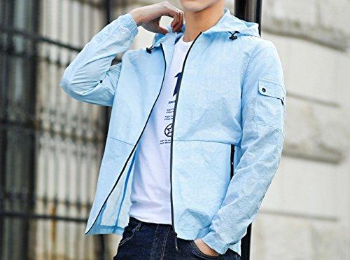 DYY Schnell Trocknende Sonnenschutzkleidung Herren Sport Outdoor-Baseball-Uniform Jacke Dünne Abschnitt Sonnenschutzkleidung Angeln Herrenjacke,Blau,XL