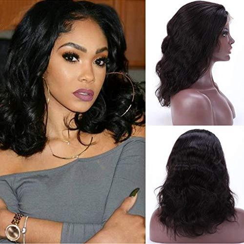 Sgsg Lacet avant en fibres chimiques perruque femme naturelle noir femelle cheveux bouclés haute qualité résistant à la chaleur fibre chimique bouclés perruque de cheveux courts,Grosse vague