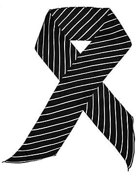 Bees Knees Fashion - Bufanda - Bufanda De Seda Larga Impresa De La Raya Blanca Negra Impresa