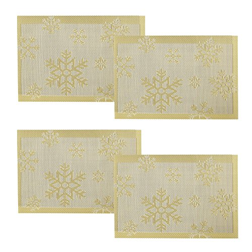 borlans-vinyl-placemats-dining-table-place-mats-washable-table-mats-set-of-4gold-snowflake