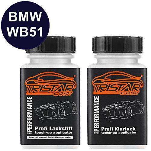 Preisvergleich Produktbild Autolack Lackstift Set BMW WB51 San Marino Blau Metallic Basislack Klarlack je 50ml