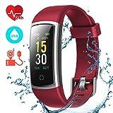CHEREEKI Fitness Tracker, Orologio Fitness Braccialetto Pressione Sanguigna Cardiofrequenzimetro da Polso Impermeabile IP68 Smartwatch Contapassi Calorie Corsa Sport Watch (Rosso)