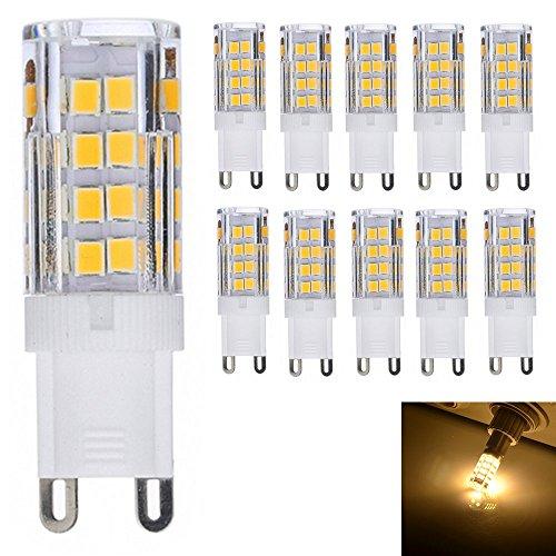10er-Pack G9 LED Lampe 5W 51 SMD 2835, Ersatz für 40 W Halogen [350LM, Warmweiß 2800K , AC 220-240V, 360º Abstrahlwinkel,Warm-Weiß]