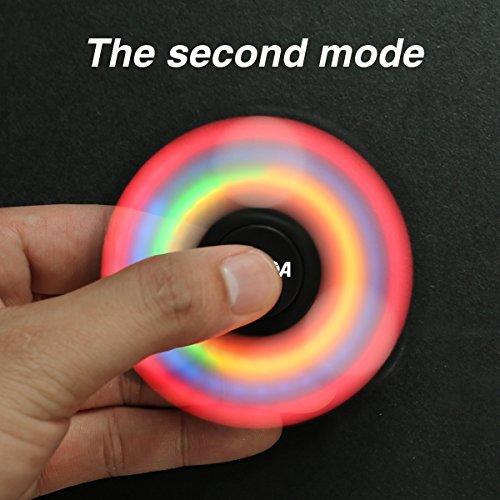 Spinner,CAMTOA LED leuchtende 3 Modus Hand Spinner Finger Fidget Spielzeug, perfekt für ADD,ADHS,Angst und Autismus Erwachsene Kinder -