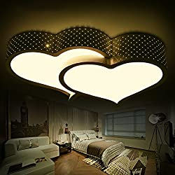 Lilamins Luz de techo led de iluminación de la habitación de matrimonio de amor románticas minimalista moderno Dormitorios luz dos corazones ajeno Salón lámparas, pequeños 59*37cm sin polaridad Control remoto
