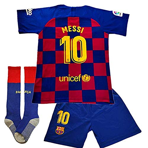 Brosin Fußball-T-Shirt Sportanzug Trikot, Nr. 10 Messi Barcelona Fußball-Sportbekleidung, Jungen-T-Shirt Für Kinder (8-10 Years of age/26, Home 2020) -