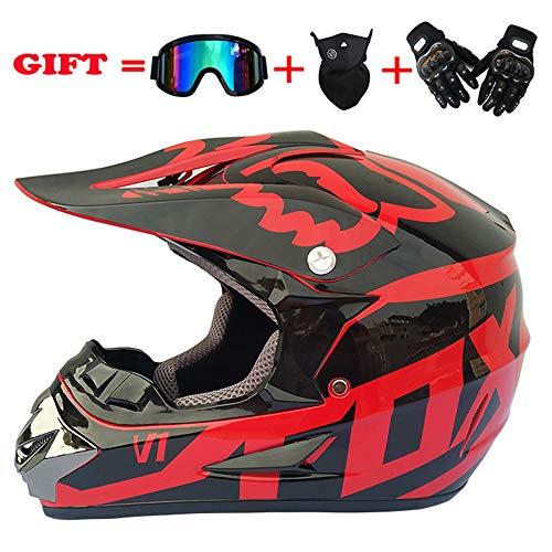 HXZM Adult D.O.T zertifizierter Motorrad-Motocross-Helm und Erwachsener MX-Motorrad-Helm (Handschuhe, Brille, Maske, Set von 4) red (Fox Kopf Maske)