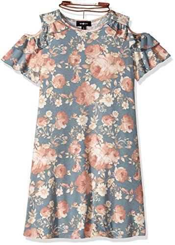 Ein Byer Kleider (Amy Byer Big Girls' Print Knit Cold Shoulder Ruffle Dress, Blue, L)