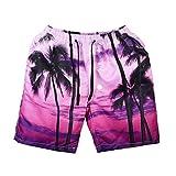 OSYARD Herren Tragen Sie 3D Print Beach Pants Hosen Große Größe Kreative Schwimmen Hosen(3XL, Rosa)