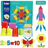 Lewo 230 Pezzi Blocchi di Legno Puzzle di Legno Classico educativo Giocattoli Montessori Set di Tangram per Bambini