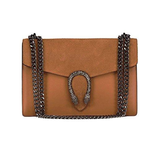 RONDA Borsa pochette a spalla tracola catena e accessori in metallo pelle liscia e pattina camoscio Made in Italy Cuoio