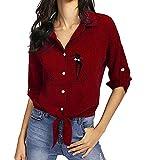 Kleidung Damen Bestickt Katze Langarm Button Top MYMYG Frauen Bestickt Katze verknotet Hem Shirt Langarm Bluse Button Tops(Lila,EU:36/CN-M)