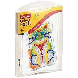 Quercetti-2130, Gioco di mosaici, Fanta Color-basic-mix 260 pezzi