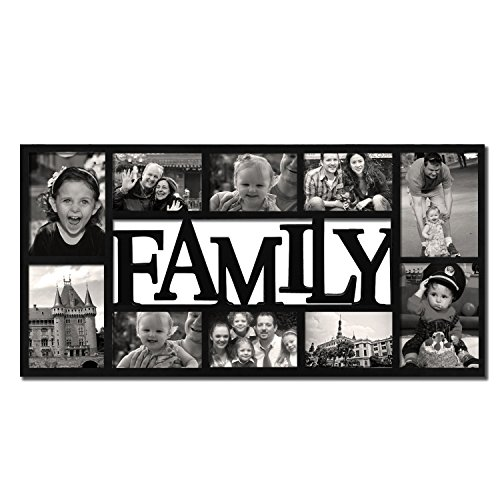 """Adeco 10-opening Kunststoff Deko """"Family"""" Collage Wand Bilderrahmen zum Aufhängen, 4von 6/5von Bluetooth, schwarz"""